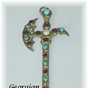 REDUCED Rare Georgian Antique Sword Pendant with Garnets Turquoise and Pearl