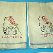 Vintage Pair Linen Tea Towels with Hand Embroidered Parrots