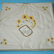 Vintage Linen Hand Embroidered Sunflower Tablecloth and Napkins in box with Label