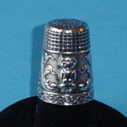 Antique Sterling Silver Thimble with Owl