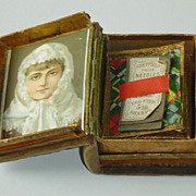 Vintage Book Needle Box with Lithograph Scrap