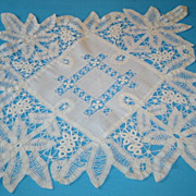 Vintage Hand Made Battenburg Lace and Cutwork Centerpiece