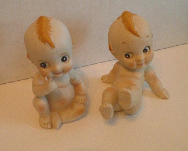 Two Porcelain Bisque Kewpie Figurines