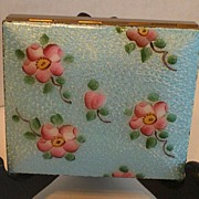 Blue Enamel with Pink Flowers Compact