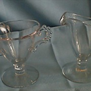 Imperial Glass Candlewick Footed Sugar and Creamer