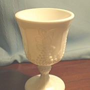 Imperial Milk Glass Vintage Grape Footed Goblet