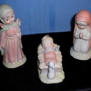 Lefton Bisque Away in the Manger 3-Piece Set