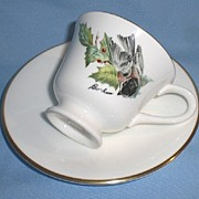 SOLD Boehm Fine Bone Porcelain - Chickadee and Holly Cup and Saucer