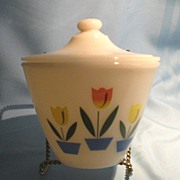 Fire King Cream Tulip Grease Jar
