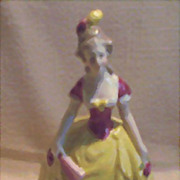 German Porcelain Vanity Powder/Trinket Box Lady in Yellow and Pink Gown