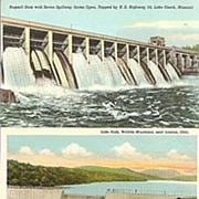 Three Postcards of Dams: Missouri, Oklahoma and Arkansas