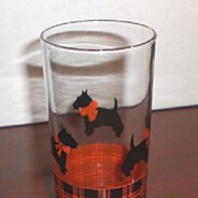 SALE Scotty/Scottie Dog Glass with Red and Black Plaid Border