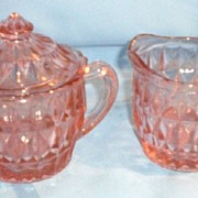 Windsor Pink Depression Glass Cream and Covered Sugar