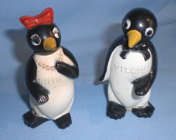 Vintage Kool Cigarette Advertising Plastic Willie and Millie Salt and Pepper Shakers