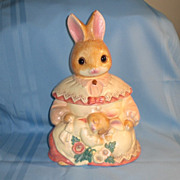 Mervyn's Glass-Eyed Mama Rabbit with Baby Cookie Jar