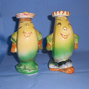 Anthropomorphic Oil and Vinegar Set Dancing Bananas with Sombreros