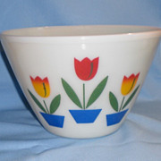 Large Fire King Ivory Tulip Mixing Bowl