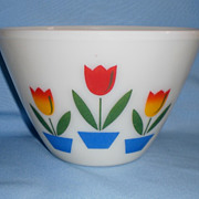 Fire King Tulip Ivory Mixing Bowl