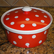 SALE Fitz & Floyd Red Polka Dot Covered Casserole