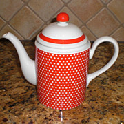 SALE Fitz & Floyd Red Polka Dot Coffee Pot