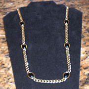 Napier Gold-Tone Chain Necklace with Black Stones