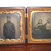 SOLD Gutta-Percha Union Case Tin Type Civil War Soldier and Ambro Type Family