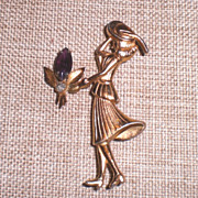 Coro Gold Tone Lady Pin/Brooch and Earrings