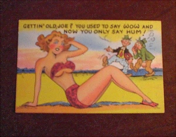 Comic/Humorous Postcard with Bathing Beauty