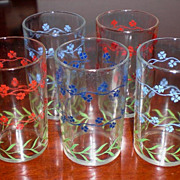 "Five Kraft Cheese Swanky Swigs ""Forget Me Not"" Glasses"