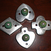 SOLD Vintage Cookie Cutters Green Wood Handles Suit of Cards (4)