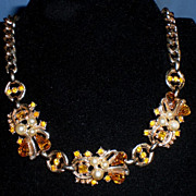 Gold-Tone Gold Rhinestone and Faux Pearl Choker Necklace