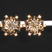 Lovely Trifari Clip-On Rhinestone Earrings