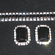 Outstanding Demi Parure Black and White Rhinestone Bracelet and Earrings