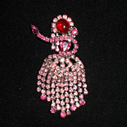 Hobe Pink Fuchsia Rhinestone Brooch/Pin