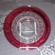 Indiana Glass Cranberry Flash Kings Crown /Thumbprint Salad/Lunch Plate