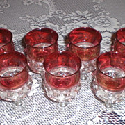 Indiana Glass Cranberry Flash Kings Crown/Thumbprint Water Goblet
