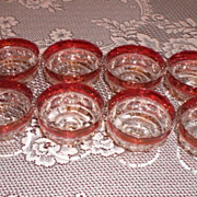 Indiana Glass Cranberry Flash Kings Crown/Thumbprint Sherbert