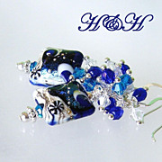 Cobalt Lampwork Earrings With Swarovski Crystals