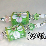 Soft Green and Pink Floral Lampwork Earrings