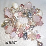 Charm Bracelet - At The Beach With Crab Agate, Rose Quartz and More