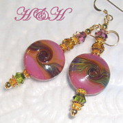 Rose Lampwork Short Earrings With Olive and Topaz Swirls