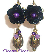 Black Enamel Rose Dangle Earrings In Brass