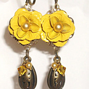 Yellow Enamel Rose Dangle Earrings With Brass
