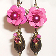 Hot Pink Enamel Rose Earrings With Brass