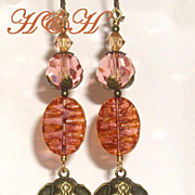 Brass Elephant and Czech Glass Dangle Earrings