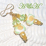 Yellow Rose Short Lampwork Earrings
