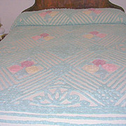 Vintage Chenille Bedspread with Pastel Flowers