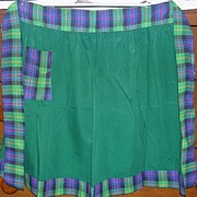 Vintage Emerald Green Apron with Tartan Trim