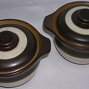 "Vintage English Denby Pottery Individual Casseroles ""Russet""-Pair"