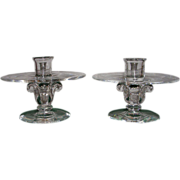 Crystal Steuben Glass Candle Holders-1950's